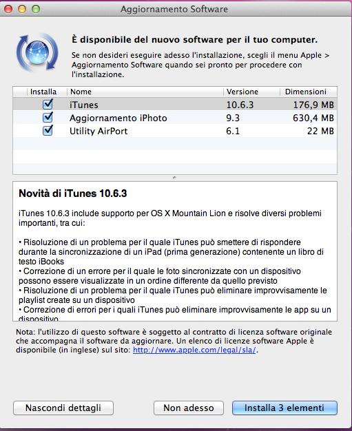 aggiornamento itunes 10.6.3