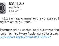 iOS 11.2.2: è ora ufficialmente disponibile l'aggiornamento che mitiga Spectre