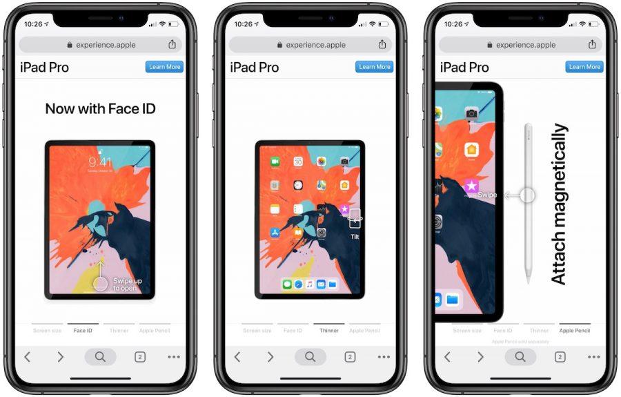 Il sito web mobile interattivo di Apple mette in evidenza le funzionalità di iPad Pro 2018